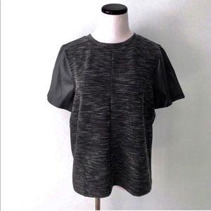 LOFT Black Faux Leather Sleeve Marled Top